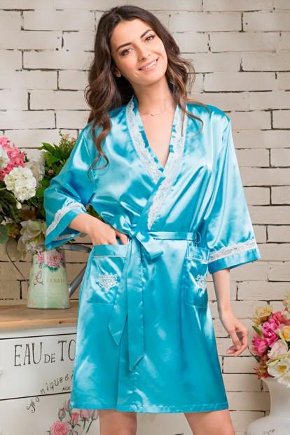 Женский короткий голубой атласный халат Mia Sofia MIA DIVA 9543 - фото 1