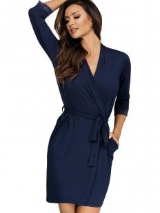 Женский халат на запахе из вискозы с карманами синий
