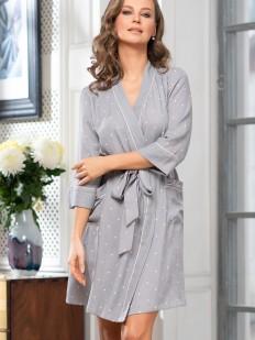 Домашний женский серый халат из вискозы в горошек