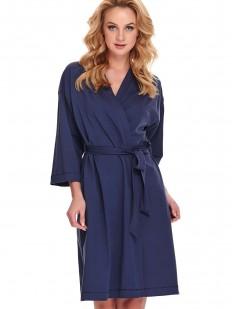 Синий женский халат кимоно из хлопка с карманами