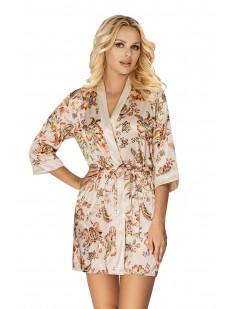 Бежевый атласный женский халатик с цветочным принтом на лето