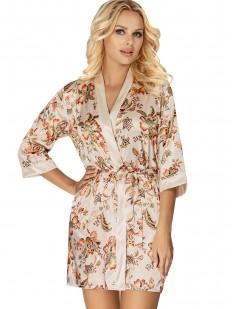 Атласный женский халат бежевого цвета с цветочным принтом
