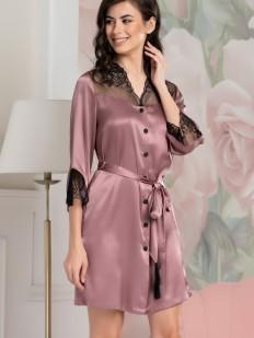 Шелковая женская ночная рубашка розовая