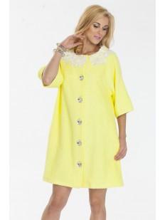Женский хлопковый желтый халат на пуговицах