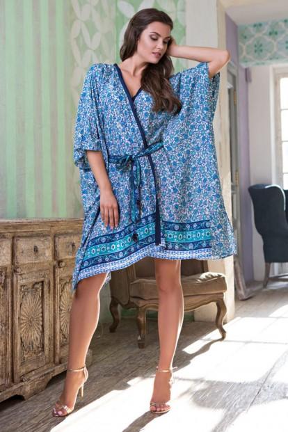 Летний домашний женский халат из вискозы с цветочным принтом Mia-Mia Santorini 16127 - фото 1