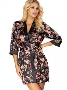 Черный атласный женский халатик с цветочным принтом на лето
