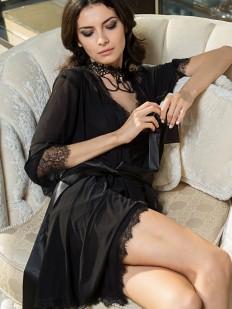 Черный женский летний халат с отделкой кружевом Шантильи