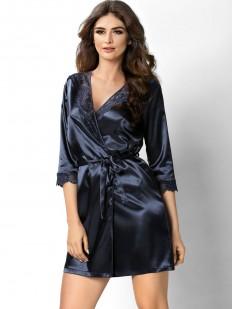 Женский темно-синий атласный халат на лето с кружевной отделкой