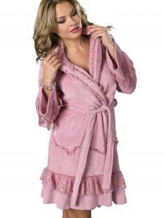 Короткий женский домашний халат хб розовый