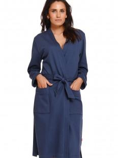 Хлопковый женский халат синего цвета с накладными карманами
