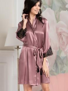 Шелковый женский домашний халат розовый