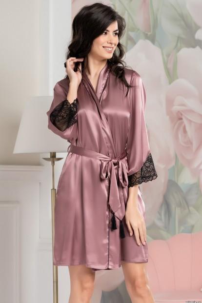 Шелковый розовый женский халат Mia-Amore OLIVIA 3643 - фото 1