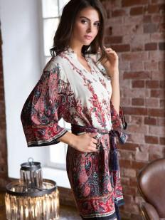 Женский летний халат кимоно из вискозы с этно принтом