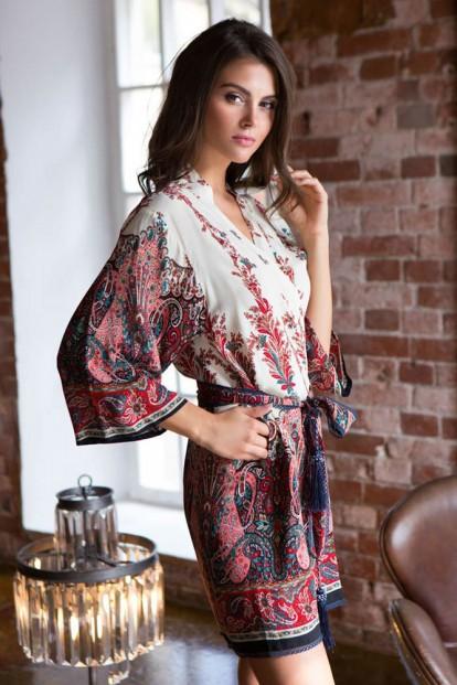 Женский короткий халат кимоно из вискозы с этно принтом Mia-Mia Shakira 16073 Red - фото 1