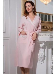 Длинный хлопковый женский халат розовый