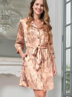Шелковый женский халат на пуговицах и с боковыми карманами