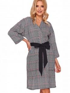 Женский хлопковый халат кимоно с черным поясом