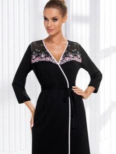 Женский черный халат из вискозы с кружевом и карманами