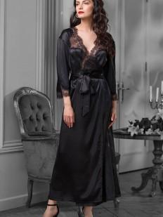 Черный длинный атласный женский халат с кружевным декором