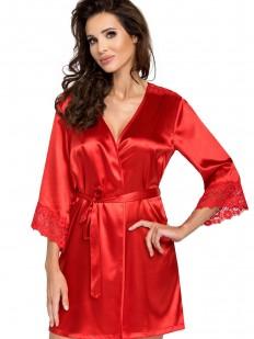 Женский атласный красный халат на лето с кружевным рукавом