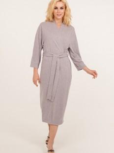 Женский длинный сиреневый халат из мягкой вискозы с карманами