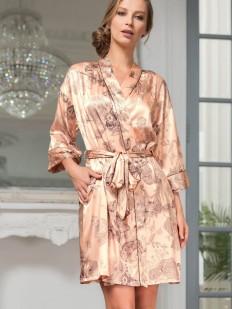 Женский шелковый халат кимоно с цветочным принтом