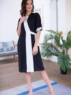 Женский домашний халат с коротким рукавом черно-белый