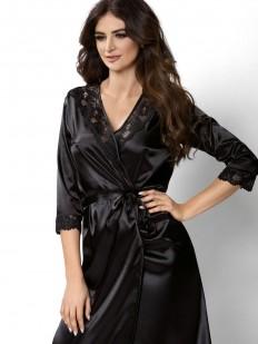 Женский атласный черный халат с кружевом летний