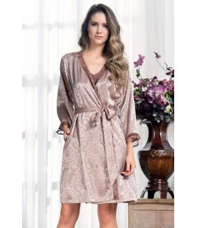 Атласный кремовый женский халат на запахе с жаккардовым принтом