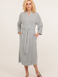 Женский длинный голубой халат из мягкой вискозы с карманами