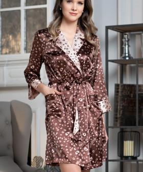 Атласный женский халат на пуговицах в кофейном оттенке
