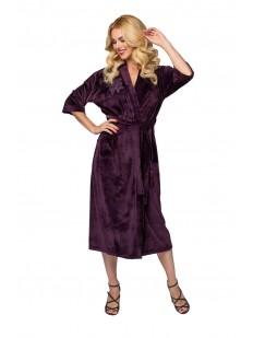 Длинный теплый женский халат фиолетовый