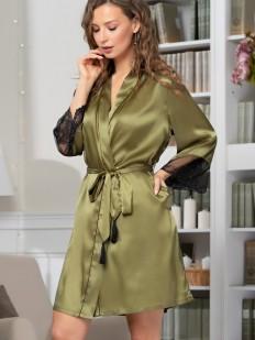 Шелковый женский домашний халат оливковый