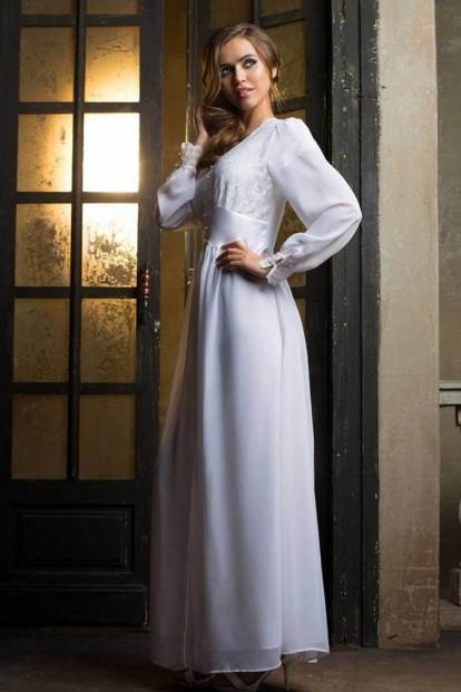 Длинный женский белоснежный пеньюар на пуговицах Mia-Mia 17259 LADY IN WHITE - фото 1