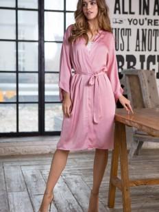 Женский домашний розовый халат до колена из сатина