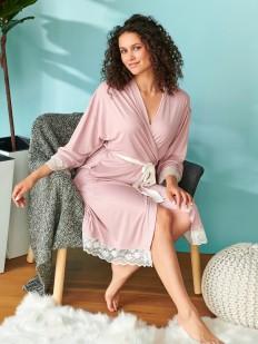 Розовый женский халат кимоно из модала с кружевной отделкой