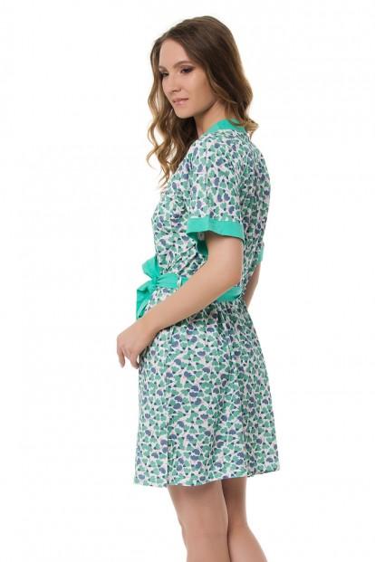 Женский хлопковый летний халат с растительным принтом Dreamwood Evelena 1131 - фото 1