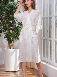 Женский домашний хлопковый длинный халат