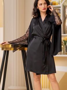 Черный женский атласный халат с кружевным рукавом в стиле кимоно