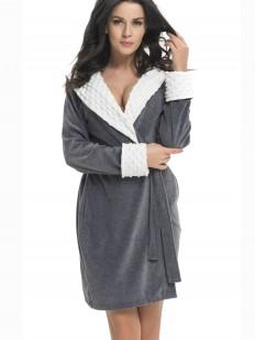Теплый женский махровый халат серый с капюшоном
