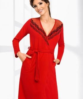 Женский красный халат из вискозы с кружевом и карманами