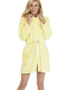 Махровый женский халат на молнии с капюшоном желтый