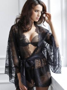 Кружевной черный короткий женский халат кимоно с атласным поясом