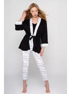 Женский черный хлопковый халат кимоно с белыми манжетами