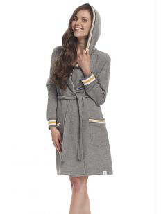 Женский домашний халат из хлопка с капюшоном серый