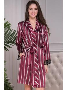 Атласный женский домашний халат бордовый в полоску