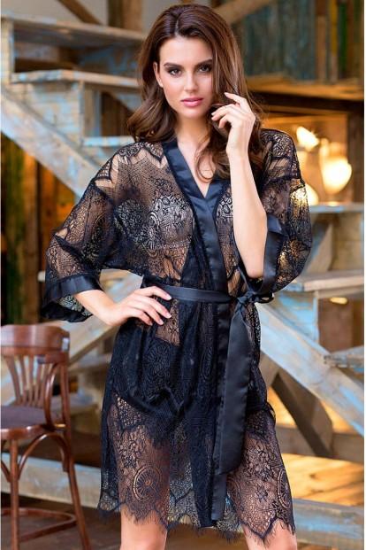 Черный женский кружевной халат Mia-Mia MAGDALENA 17437 - фото 1