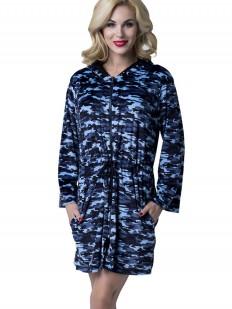 Женский синий халат на молнии с капюшоном