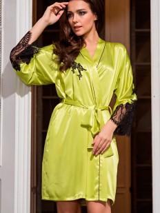 Шелковый женский летний халат с кружевом желтый