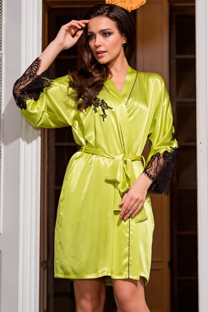 Шелковый женский лимонный халат с кружевными рукавами Mia-Amore Chantal 3193 - фото 1